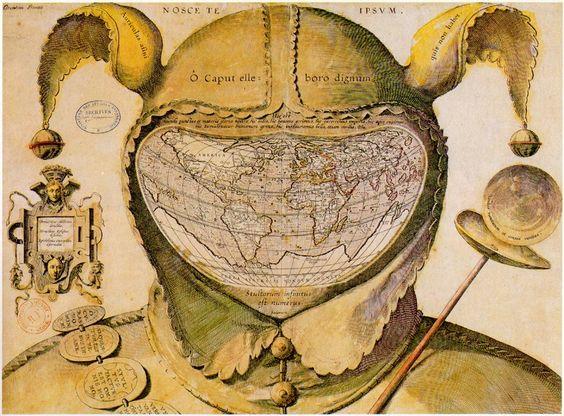 """World Map Drawn in a Fool's Head."" ca. 1590.  Bibliothèque Nationale, Paris"