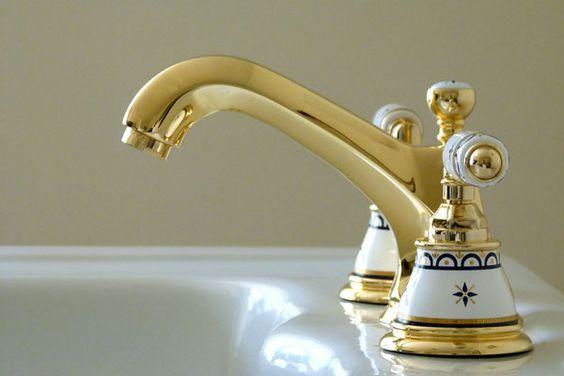 Elegante 3-Loch Waschtischarmatur mit handbemalter Keramik, AMAMTARA BURI, Gold