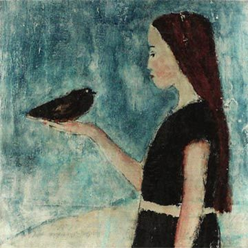 she was the only one - girl with black crow in her hand 4x4