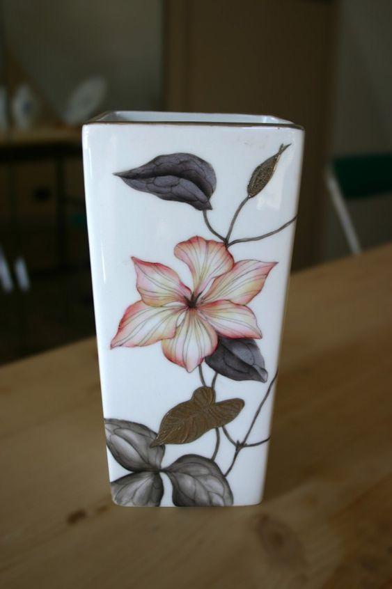 Clematites mod les peindre sur porcelaine peinture for Decoration sur porcelaine