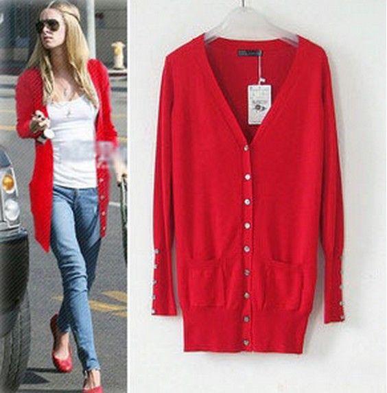 hot sale 2014 European Fashion Mid-long Solid Shell Button sweater Womens Sweatshirts Cardigans plus size JOY047