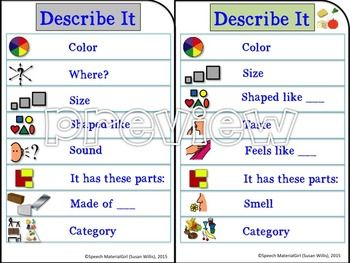 Speech Therapy Describe It Visual Prompt For Attributes