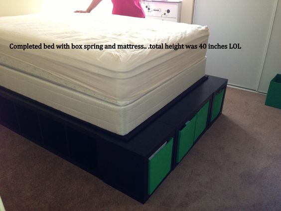 Bed With Mattress And Box Spring Height Was 40 High Lol Too For Someone To Sleep Up There Expedit Storage Platform Pinterest