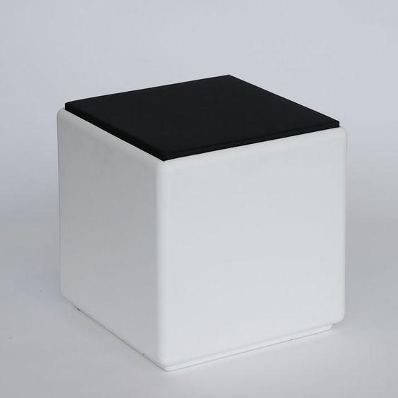 Otium-Neliöjakkara Cubus kannella, 43x43cm, valkoinen, säänkestävää polyetyleeniä-2