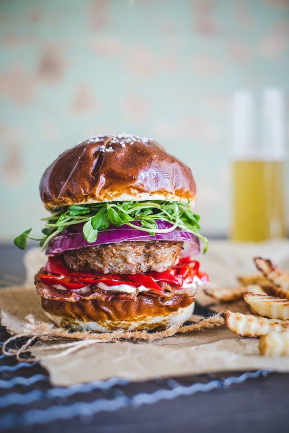 All about burgers: Spicy three meats burger with plum wine pickled turkish pepper & Quinoa Veggie Burger FoodBlogs.com: