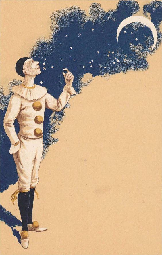 Pierrot Clown & Moon , 1890s 1/3 - bidStart (item 19641585 in Postcards, Topics (Themes)... Circus)