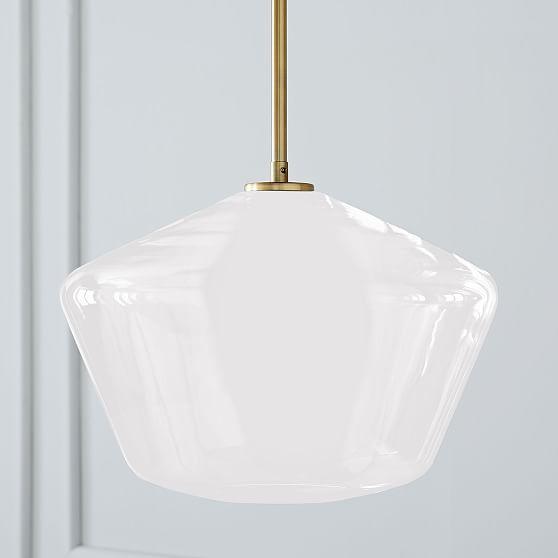 Sculptural Glass 3 Light Geo Chandelier Milk