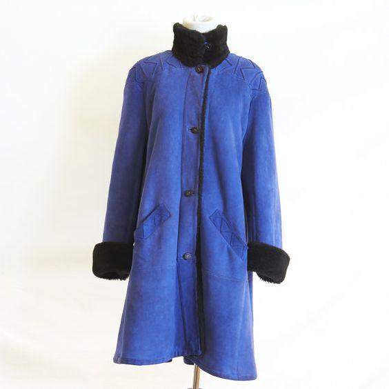 1970's Cobalt Black Shearling Swing Coat by juniperandlane on Etsy ...