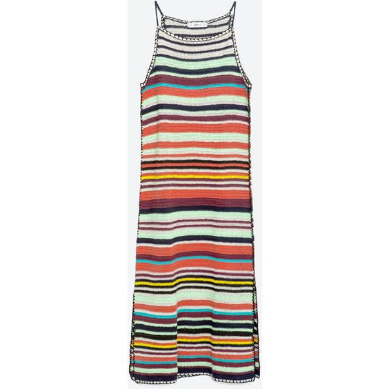 Zara Multicolored Crochet Dress ($60) ❤ liked on Polyvore featuring dresses, multicoloured, multi colored dress, multicolored dress, colorful dresses, macrame dress and multi color dress