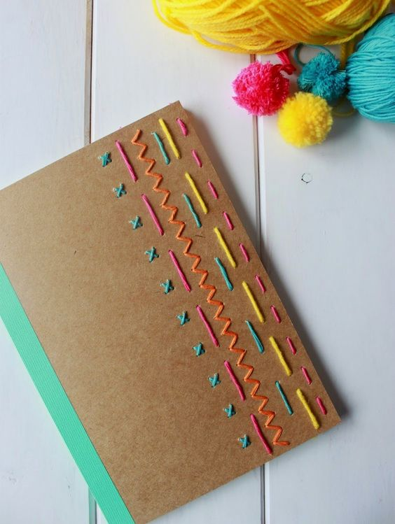Embroidered Book Cover Tutorial ~ Diy personaliza tus libretas pinterest stitches