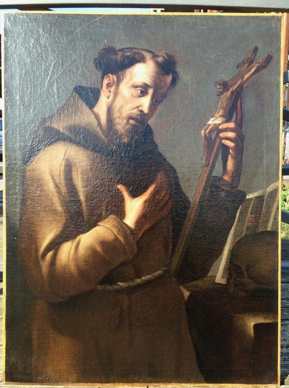Grand Portrait-saint-françois-huile Sur Toile- C. 1700-toile d'Origine, Wladimir Sokoloff, Proantic