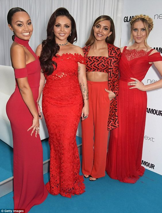 Ladies in red: Little Mix wowed in scarlet outfits at the Glamour Women Of The Year Awards in London on Tuesday