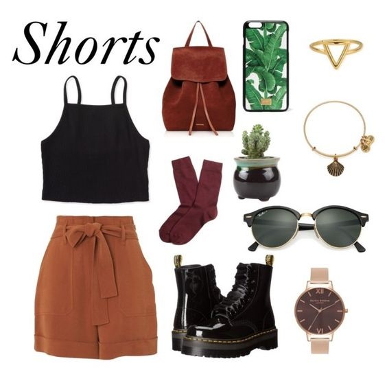 """""""SHORTS"""" by lilyyyyyyyyyy ❤ liked on Polyvore featuring Whistles, Aéropostale, Dr. Martens, Brooks Brothers, Olivia Burton, ChloBo, Mansur Gavriel, Alex and Ani, Dolce&Gabbana and Ray-Ban"""