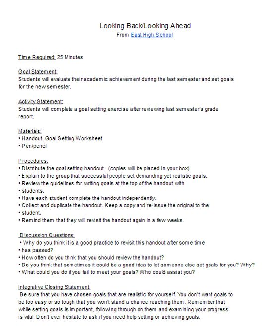 High School Goal Setting Lesson plan for the new semester\/ new - resume lesson plan