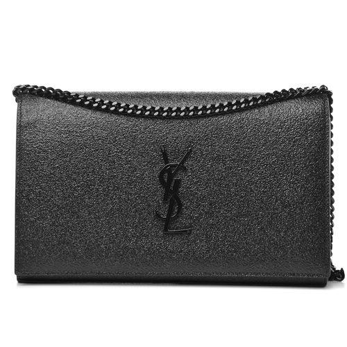 3756a8efb2a SAINT LAURENT Grained Metallic Calfskin Monogram Chain Wallet Black ...