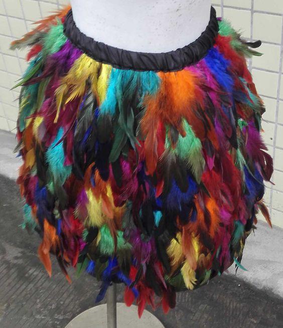 Купить товарБесплатная доставка радуга coque перо юбка выше колен, Ткани…