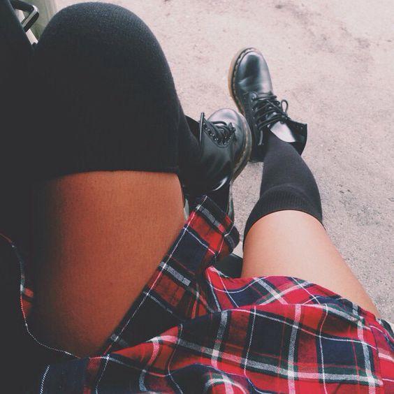 knee high socks+plaid shirt+doc martens