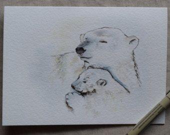 Buho de mamá cogida bebé búho acuarela y tinta por SunsetPeonies