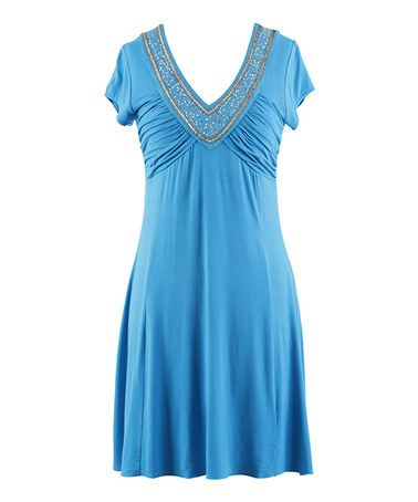 Look what I found on #zulily! Capri Embellished Ruched V-Neck Dress - Women #zulilyfinds