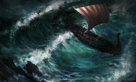 Viking ship in a storm