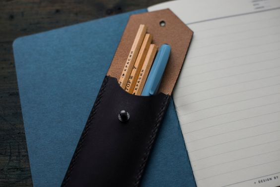 Flat Pencil Case/ Leather Pencil Case/ Black Pencil Case/ Handmade Pencil Case/ Full Grain Leather/ Gift Woman / Gift Man by PodkovaShop on Etsy