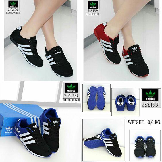 Sepatu Merek Adidas Seri A199 Kualitas Semprem Blue Black