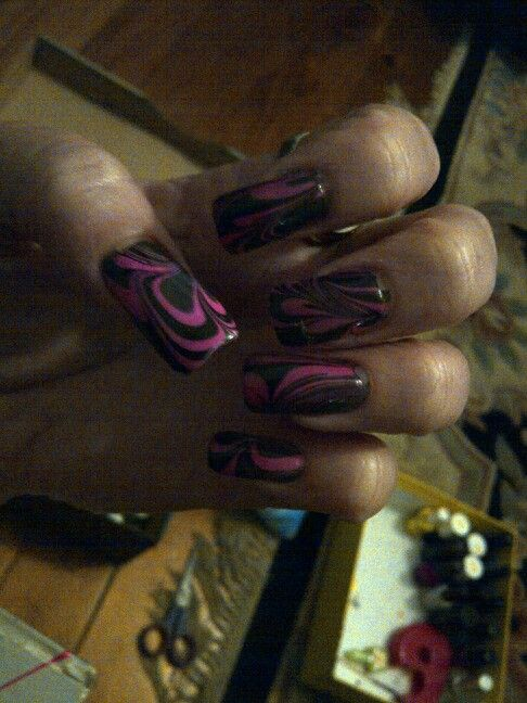 Water Marbling - Pink and black