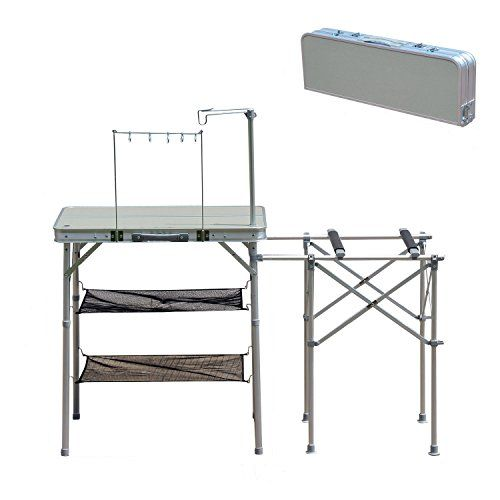camping kitchen table with sink - Outsunny 4.5\' Deluxe Portable ...