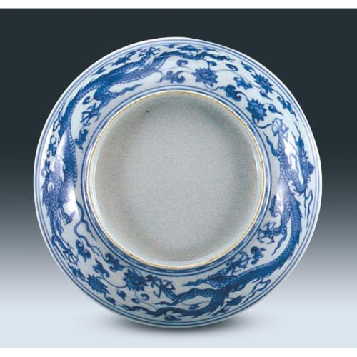 Blue and White 'Dragon' Dish (Two Views), Early Ming Dynasty, Shanghai Museum