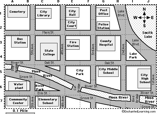 Practice Maps For Kids City Map Reading Activity 1