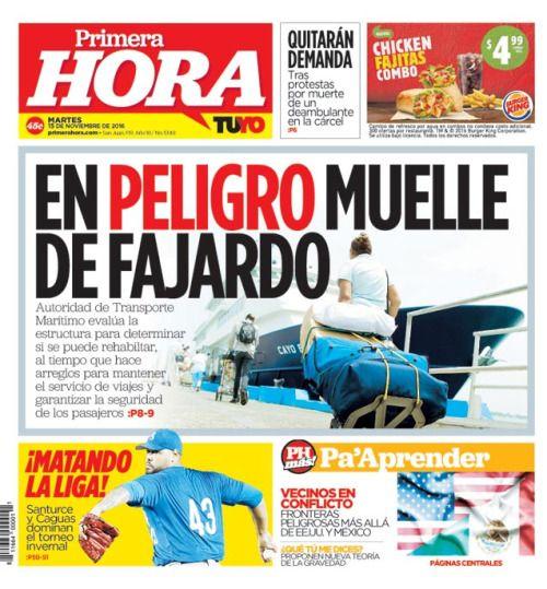En portada: En peligro el muelle de Fajardo...