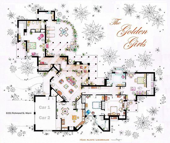 The Golden Girls House Floorplan V 2 Poster By Inaki Aliste Lizarralde Golden Girls House Golden Girls Floor Plan Drawing
