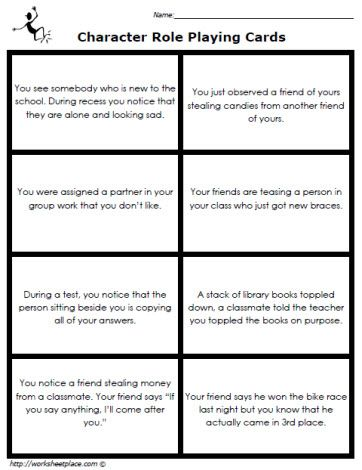 Character Role Playing Cards Worksheets | Social Skills ...