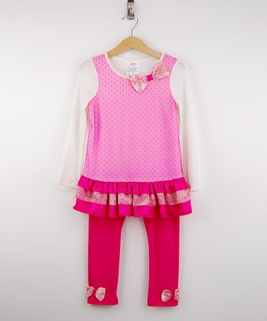 Another great find on #zulily! French Pink Ruffle Tunic & Fuchsia Leggings - Girls #zulilyfinds