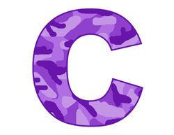 Purple camo alphabet letter name baby nursery childrens ...