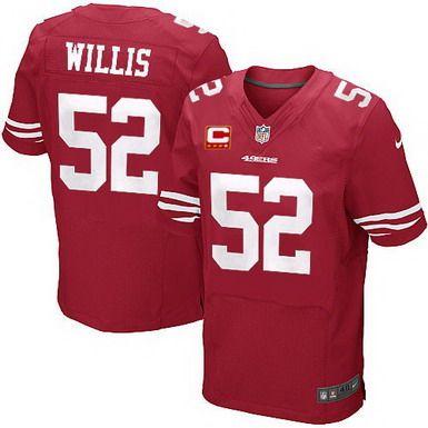 Nike San Francisco 49ers #52 Patrick Willis Red C Patch Elite Jersey
