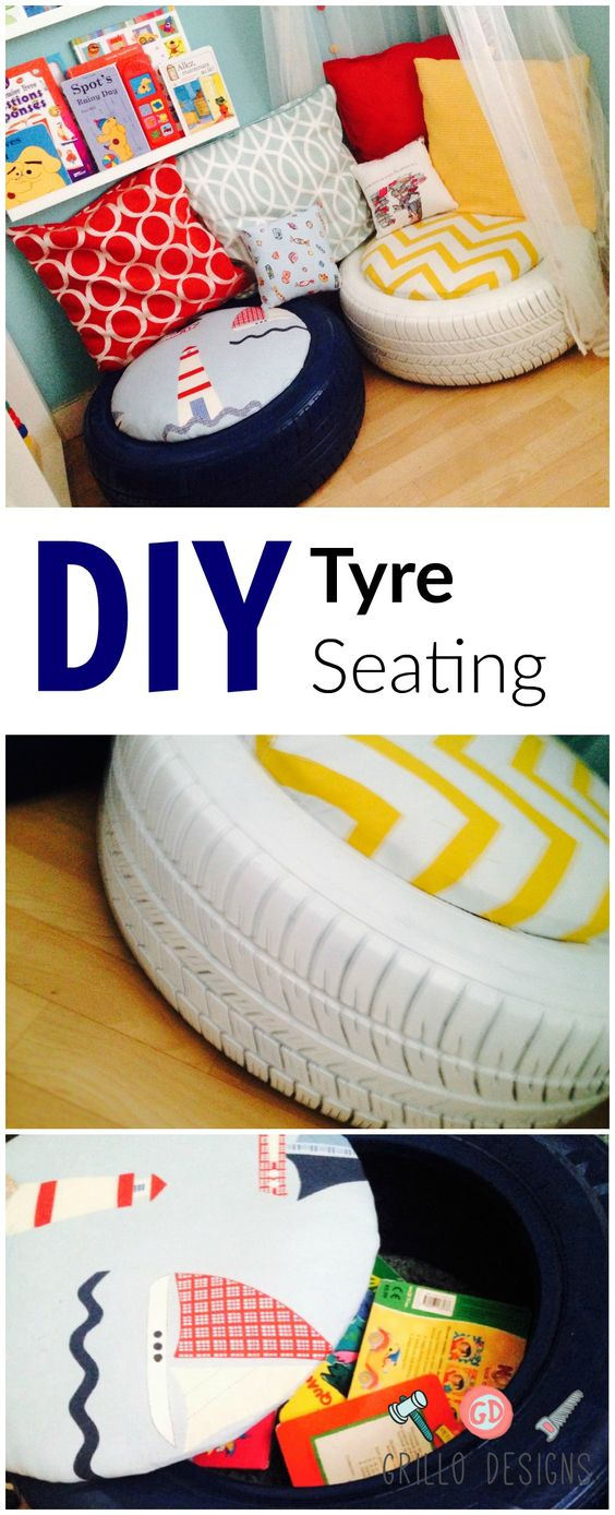 See how I recycled plain old tyres into a kids seating area for my son: