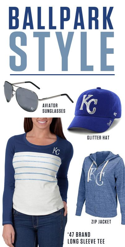New ballpark styles for Opening Day at the K! Get the look: http://www.rallyhouse.com/mlb/al/kansas-city-royals/a/womens?utm_source=pinterest&utm_medium=social&utm_campaign=Pinterest-KCRoyals