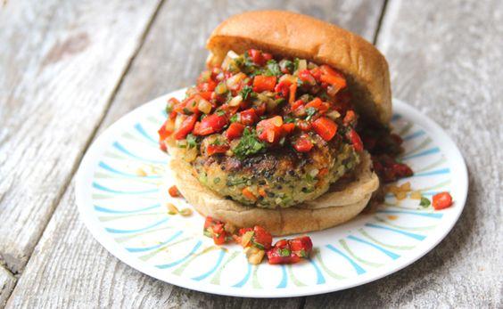 Quinoa Veggie Burger with Roasted Red Pepper Relish Recipe - Saveur.com