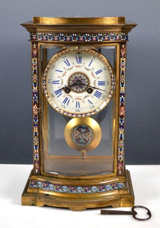 Vincenti Cie Champleve Chiming Mantel Clock Mantel Clock