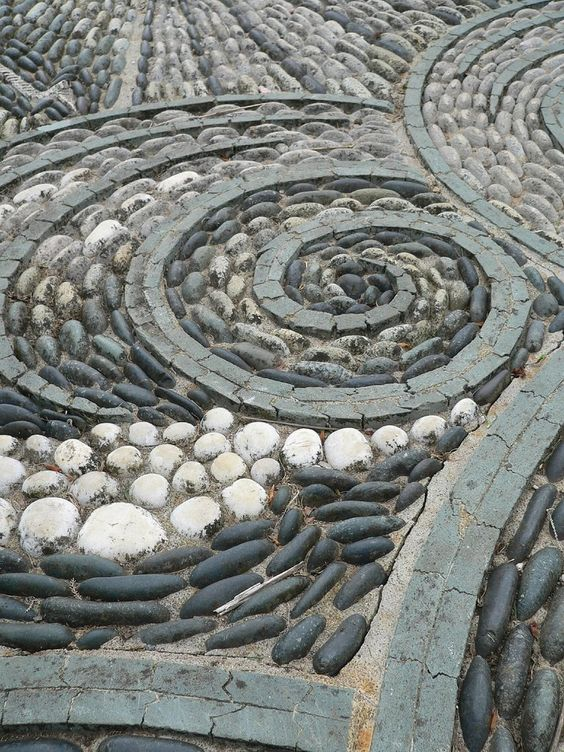 Detail of a pebble mosaic, Gresgarth Hall Gardens ...