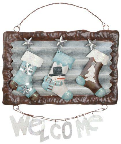 Winter Welcome Stockings Metal Sign
