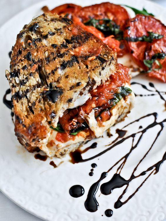 Roasted Tomato Caprese Grilled Cheese with Balsamic Glaze... YES PLEASE