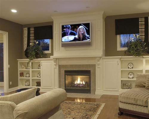 fireplace and shelves..