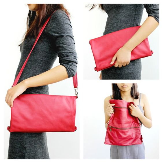 ON SALE . Red leather foldover clutch  Large by BarLeather on Etsy