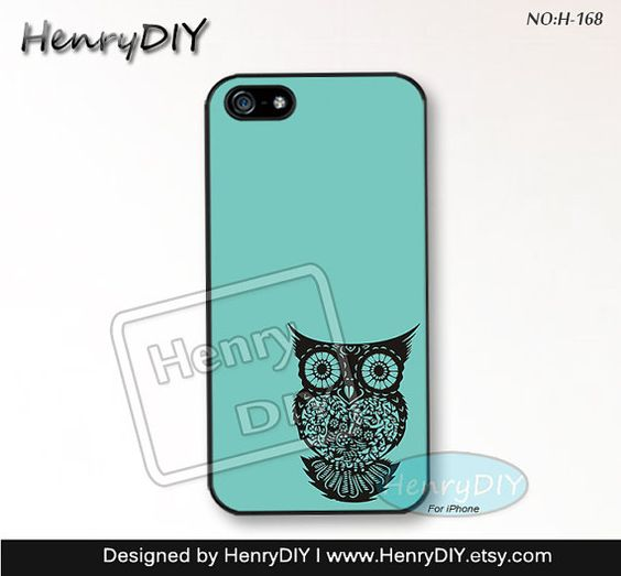 Phone Cases, iPhone 5/5S Case, iPhone 5C Case, iPhone 4/4S Case, Mint green owl, Phone covers, Case for iPhone~-168