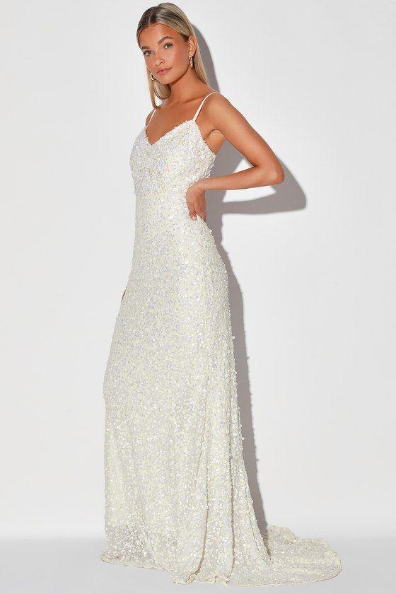 At Last White Sequin Mermaid Maxi Dress In 2020 Wedding Dress Sequin Cute Prom Dresses Bridal Dresses