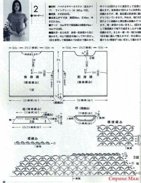 Crochet camicetta verde schema