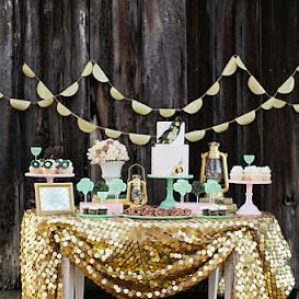 .: Dessert Tables, Cake Table, Gold Table, Gold Sequins, Girl Scout, Bridal Shower, Sequin Tablecloth, Party Ideas