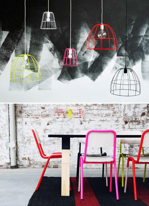 Koskela range - 'Bye Bye Birdy' pendant lights in fab fluoro colours  and the brand new JAKE chairs!